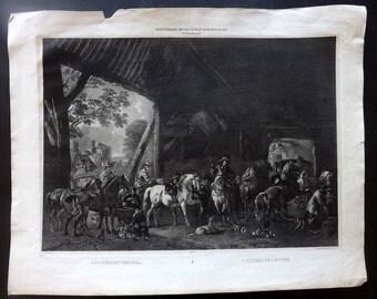 Koninklijk Museum - after Wouwerman C1830 Print. Het Inrijden der Stal