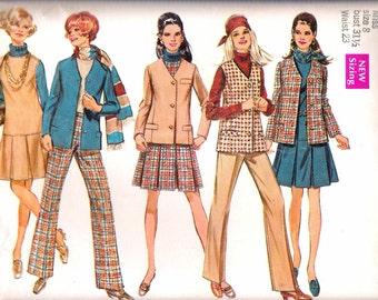 "Vintage 1969 Simplicity 8356 Jacket or Sleeveless Jacket, Jumper & Pants Sewing Pattern Size 8 Bust 31 1/2"" UNCUT"