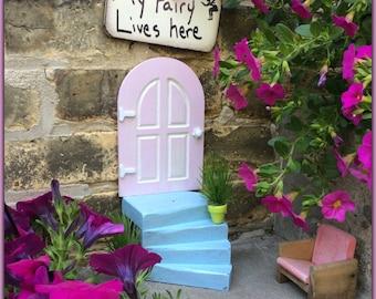 Fairy Garden Door, Miniature Door, Pink, Fairy Garden, Fairy Door, Outdoor, Birthday, Gifts for Her, Wall, Tree, Distressed, Housewarming