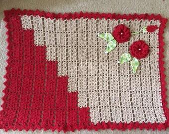 Crochet Rug, Bath Rug, Kitchen Rug, Bedroom Rug, Red and Beige, Handmande Rug with Flower , Cotton Bath Mat,- Ready to Ship!