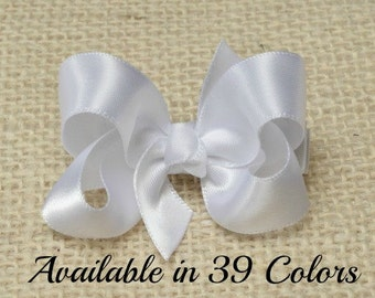 White Hair Bow, Satin Hair Bow, Baby Bows, Toddler Hair Bows, Baby Hair Bows, Hair Bows for Girls, Hair Bows for Women, 2 Inch Bow, Hairbow