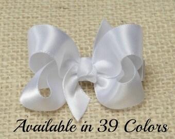 White Hair Bow, Satin White Hair Bow, 2 Inch Bows, Hairbows, Baby, Toddler, Girls, Adult Women, 904, 200