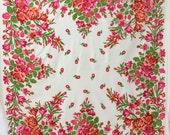 Reserved - silk cotton shawl, garden party shawl, lightweight throw, silk blend shawl with pink roses, retro shawl, botanical throw, Soviet
