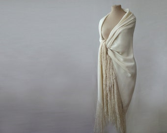 large silk fringed shawl, cream silk shawl, piano shawl, silk challis, bohemian, oversized silk shawl, cream, off white, silk wrap tassels