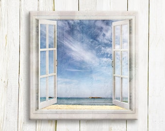 Seascape Window view - nautical art print on canvas - Sea lovers gift idea