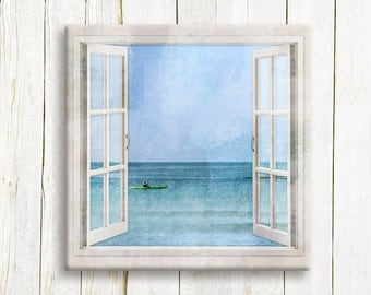 Fisherman at the sea - Seascape Window view - nautical art print on canvas - Fisherman gift idea