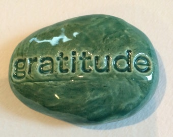 GRATITUDE Pocket Stone  - Ceramic - AQUAMARINE Art Glaze - Inspirational Art Piece