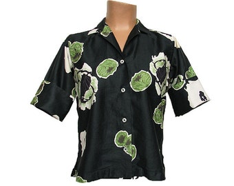 Vintage 1950s Blouse Flower Print Cotton Shirt GABEY by GABRIEL Bold Floral on Black