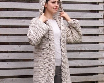 Crochet PATTERN women cable hooded cardigan , women coat,  braided sweater DIY tutorial, Instant download