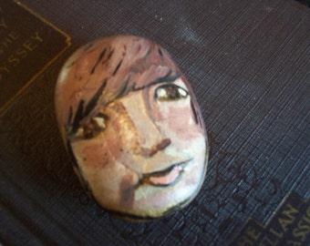 Handpainted Rock Male Brown Eyes and Brown Hair Portrait John Lennon