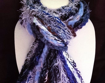 Hipster scarf - Handmade scarves: Blue fringe scarf - Crochet,  Hippie, fun - accessory, warm, soft, light, high fashion - hand made