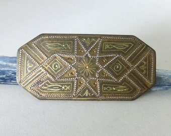 1960's Vintage Spanish Damascene Geometric Retangular Pin
