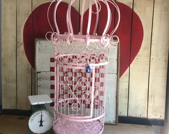 Large Vintage Wrought Iron Pink Birdcage