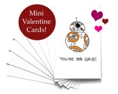 Mini Valentine cards kids, Set of 8 Star Wars BB8, Rey, Finn, Poe, Force Awakens cards