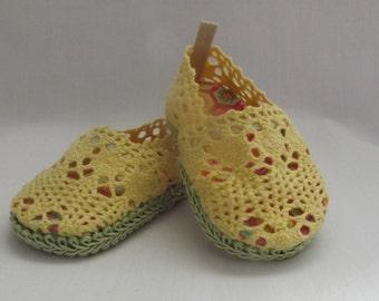 "Yellow Crochet Sandals for 18"" dolls"