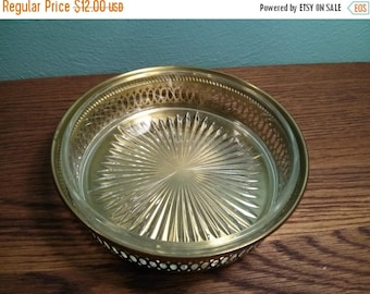 SALE - Brass & Glass Dish