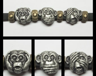 Bracelet. Hear No Evil, Speak No Evil, See No, Well... Maybe A Little. Silver  And Bronze