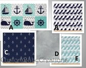 Baby Boy,  Nautical Treasure, Crib  Bedding 2-5pc, Create your own design