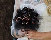 Black Flowers Bridal Bouquet - Vinyl Record Rock and Roll Bouquet - Alternative Wedding Bouquet- Upcycled Vinyl Record Flowers - Black Roses