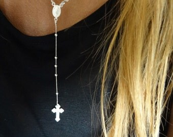 Sterling silver rosary necklace. Tiny beads rosary. Front clasp.