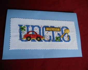 """Cross stitch card -  """"Uncle"""""""