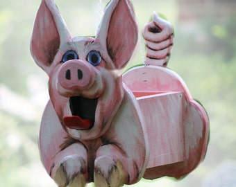 Pinky Pig Planter, Birdhouse or Feeder, pig gift, animal lover gift