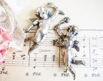Sterling Silver Angel Pins Set Of Two Cherub Angels Antique Vintage Cast Sterling Silver Jewelry Gift For Her Wedding Vanity Photo Prop