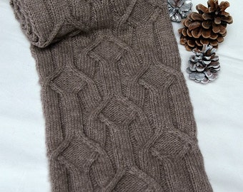 """Hand knit Scarf for men/women in supersoft and warm Qiviut-Alpaca-Merino-blend with unique cable pattern """"Forrest Island"""""""