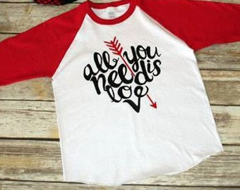 Valentines Day Shirt, Infant All you need is love shirt, Infant Clothing, Baseball Style Tee, Love Tee, Valentines