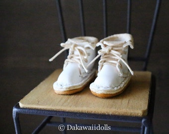 Blythe Doll / Hand made Leather shoes / work boots /White