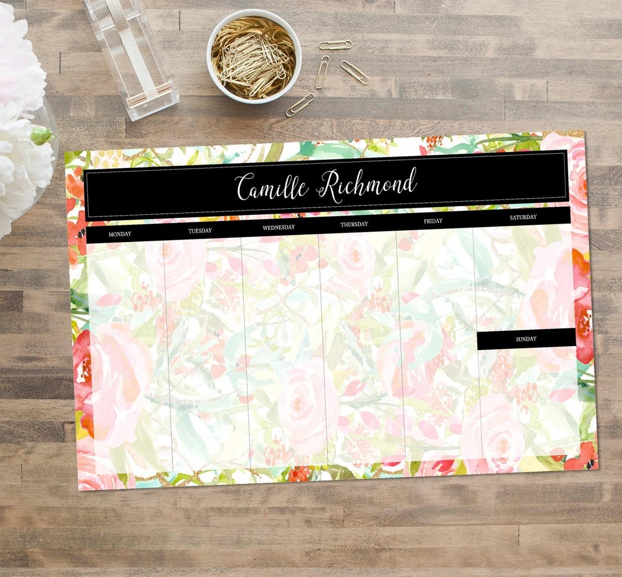 Custom Personalized Desk Pad Desk Calendar by BoutiqueMonogram