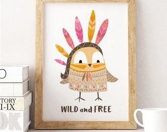 Owl print, owl wall art, printable nursery wall art, tribal owl print , owl nursery art, wild and free quote, owl art, nursery prints tribal