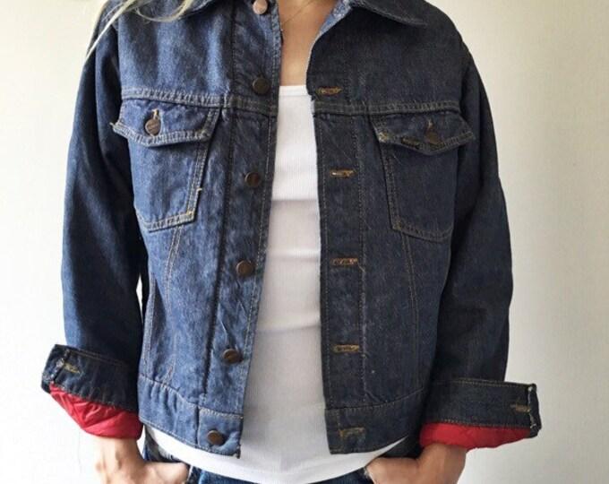Vintage Roebucks Denim Jacket Red Quilted Lining
