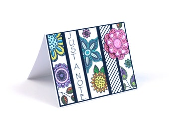 Flower doodles just a note blank card, Hello Friend, abstract floral, multi color flower power Hippie notecard