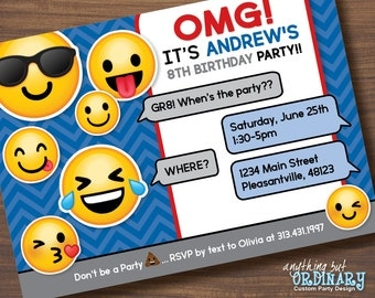 Boys Emoji Invitation, Printable Emoji Birthday Party Invitations, DIY digital file