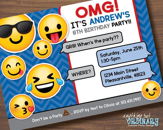 Printable Glitter Emoji Party Invitation Boys Birthday