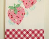 custom sweet cherries or strawberries flour sack tea towel