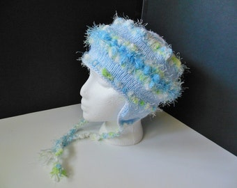 OOAK Ear Flap Bomber Blue Green White Pastel Hand Knit Hat Toddler Child