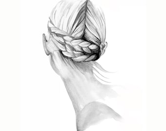 Braided, print from original watercolor and mixed media fashion illustration by Dena Cooper