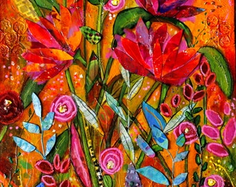 Flourishing Original mixed media collage 16 x 20 on canvas bright colored flowers by Terri Chaney