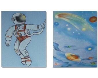 Space Nursery Wall Art, Boy Nursery Decor, SET OF 2 Art Prints, Astronaut, Outer Space, Kids Decor, Wall Art