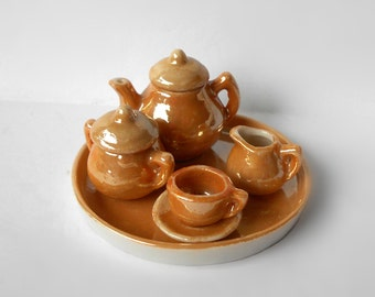 Vintage Miniature Mini Tea Set with Tray, Cups, Saucers, Creamer, Sugar with lid • Peach Lustre • Made in Occupied Japan
