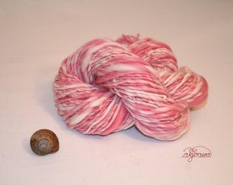 handspun multicolored merino yarn, raspberry, natural white