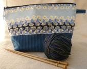 Blue Daisy Vintage Fabric Project Bag