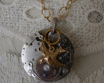 Vintage Watch Bird Assemblage Necklace by 58Diamond
