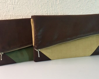 Foldover Clutch /Linen and Leather Clutch/Green Clutch/Gold Clutch/FREE SHIPPING