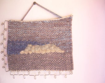 Wooven Tapestry, wire sculpture, fibre art, decorative WALL hanging, BLUE