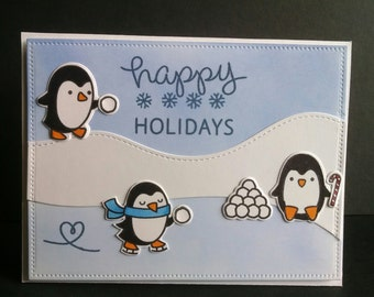 Three Penguins Happy Holiday Card - Die Cut Penguins - Holiday Card - Penguin Card