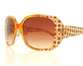 Oversized Amber Sunglasses, Retro 70s Print, Festival Sunglasses, Orange Polka Dots, Deadstock Glasses, Boho Gypsy Burning Man