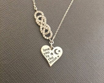 I Love You to the Moon and back Necklace, Infinity love Necklace, heart infinity link, Gift for her, gift for mother, Gift for daughter